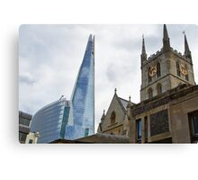 Southwark Cathedral vs The Shard.  Old and new in London Canvas Print