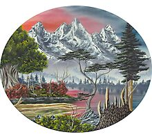 Purple Mountain Lake Photographic Print