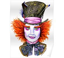 Mad Hatter Watercolor Poster