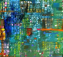 Bluegreen grid, oil on canvas by Regina Valluzzi