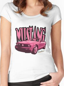 Pink Mustang T-Shirt Women's Fitted Scoop T-Shirt