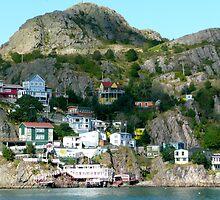 Kaleidoscopic Cliffside Town by Rachel Gagne