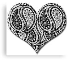 Paisley Yin Yang Heart Canvas Print