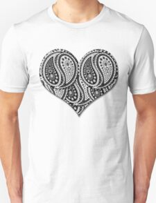 Paisley Yin Yang Heart Unisex T-Shirt