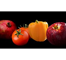 Fruit and Veggie on Black Composite Photographic Print