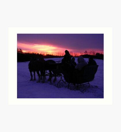 Sleigh ride sunset Art Print