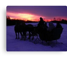 Sleigh ride sunset Canvas Print