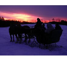 Sleigh ride sunset Photographic Print