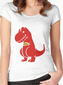 T-Rex Precious Taco funny nerd geek geeky Women's Fitted Scoop T-Shirt