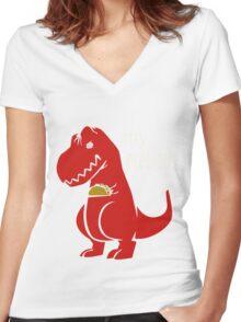 T-Rex Precious Taco funny nerd geek geeky Women's Fitted V-Neck T-Shirt