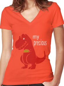 T-Rex Precious Taco funny nerd geek geeky Women's Fitted V-Neck T-Shirt