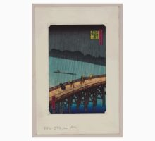 Pedestrians crossing a bridge during a rain storm 001 Kids Tee