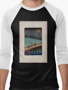 Pedestrians crossing a bridge during a rain storm 001 Men's Baseball ¾ T-Shirt