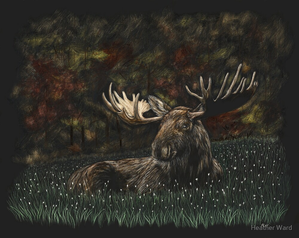 Stop and Smell the Wildflowers - moose by Heather Ward