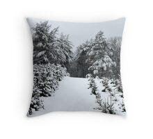 Christmas Tree Farm in Winter Throw Pillow