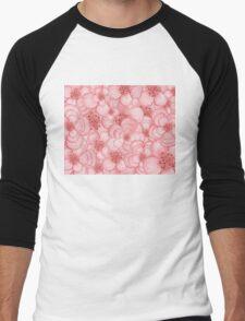 Pink Flower Cloud Men's Baseball ¾ T-Shirt