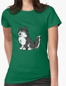 Husky Wuff Black Womens Fitted T-Shirt