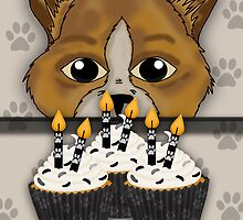 Cat Birthday Card Saying Happy Purrr-thday! With Cupcakes by Moonlake