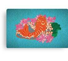 Fish (Japan Carp) Graphic with Japan Painting Style Canvas Print