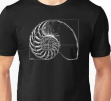 Fibonacci on a nautilus shell Unisex T-Shirt