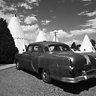 Route 66 Wigwam Motel and Classic Car by Frank Romeo