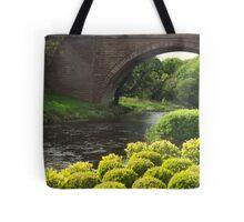 Bushes , Bridge and River Tote Bag