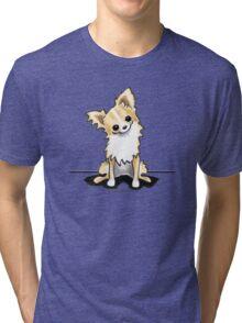 Longhaired Fawn/White Chihuahua Sit Pretty Tri-blend T-Shirt