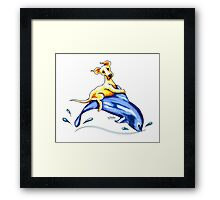 Yellow Lab Dolphin Ride Framed Print