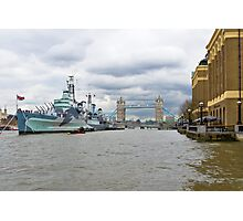 Tower bridge and hms Belfast, Thames in London Photographic Print
