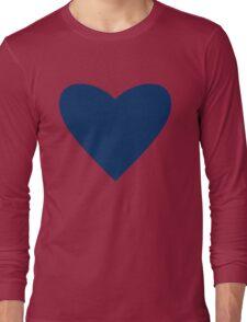 Navy Blue Heart Long Sleeve T-Shirt