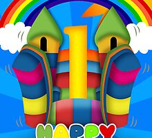 Bouncy Castle 1st Birthday Card by Moonlake