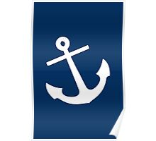 Navy Blue Anchor Poster