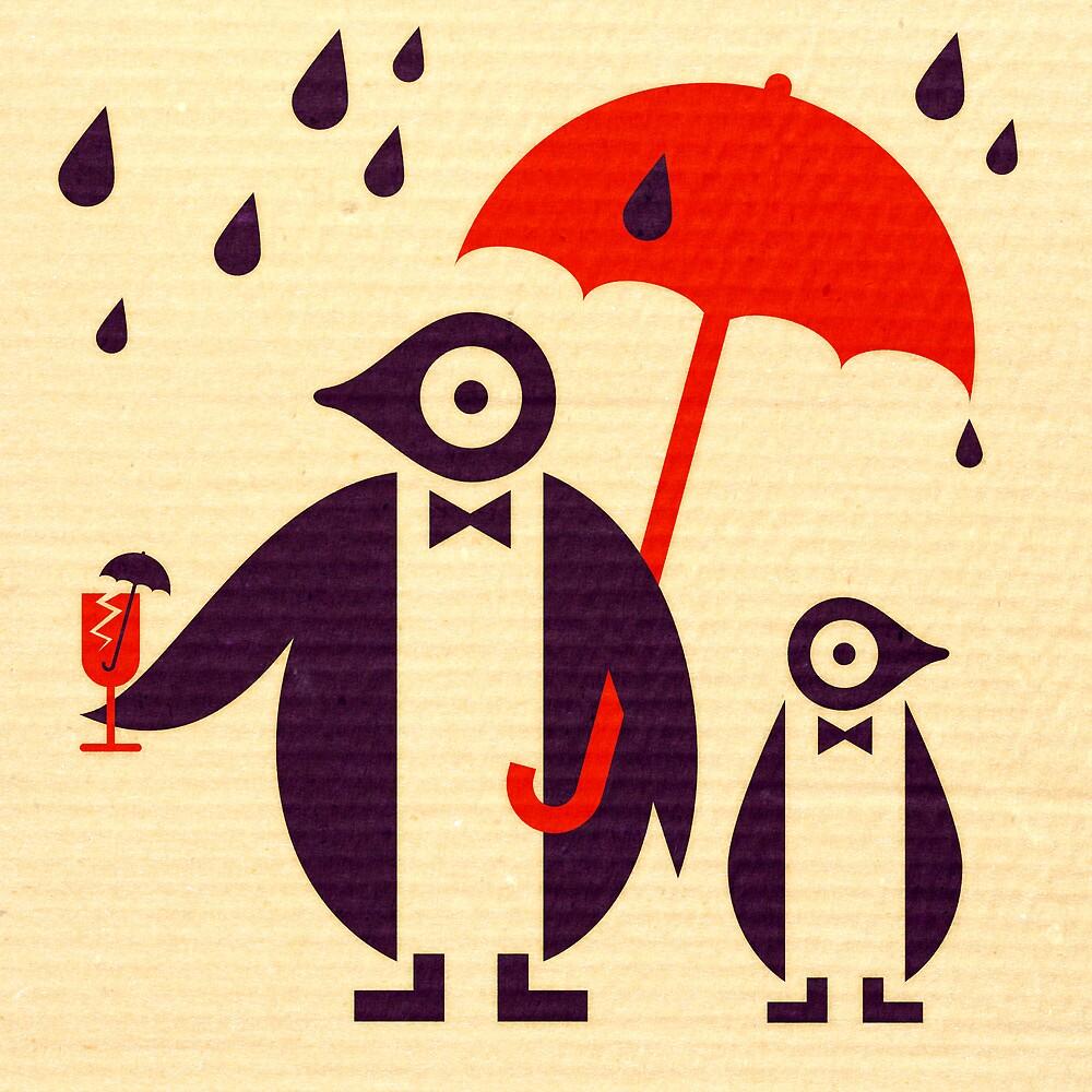 Penguins Keeping Dry by Scott Partridge