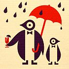 Penguins Keeping Dry by Scott Partridge