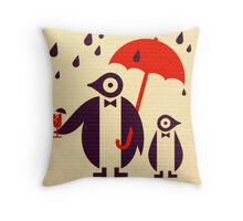Penguins Keeping Dry Throw Pillow