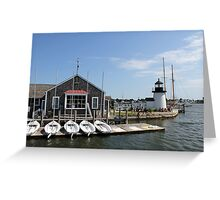 Mystic Boathouse with Light Greeting Card