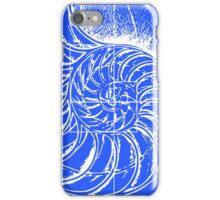Fibonacci on a nautilus shell (blue) iPhone Case/Skin