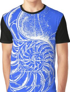 Fibonacci on a nautilus shell (blue) Graphic T-Shirt