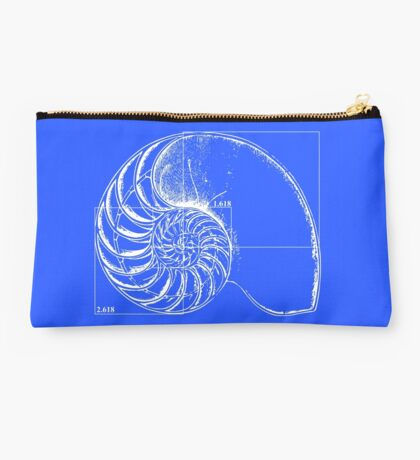 Fibonacci on a nautilus shell (blue) Studio Pouch