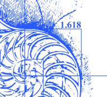 Fibonacci on a nautilus shell (blue) Sticker
