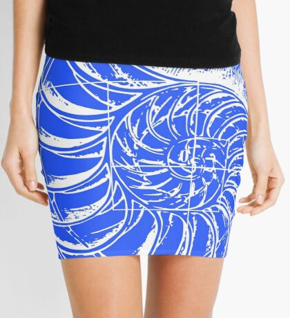 Fibonacci on a nautilus shell (blue) Mini Skirt
