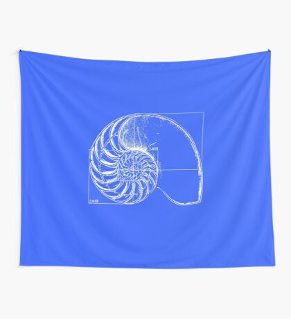 Fibonacci on a nautilus shell (blue) Wall Tapestry