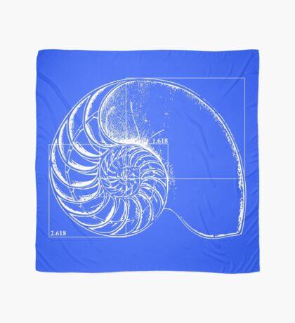 Fibonacci on a nautilus shell (blue) Scarf