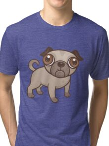 Pug Puppy Cartoon Tri-blend T-Shirt