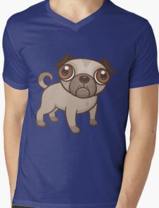 Pug Puppy Cartoon Mens V-Neck T-Shirt
