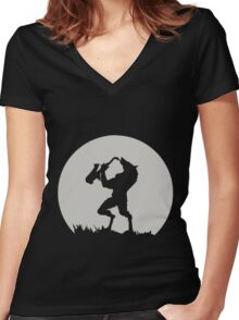 Werewolf Sax Solo funny nerd geek geeky Women's Fitted V-Neck T-Shirt