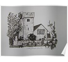 Pen and Ink-Llangathen Church-02 Poster