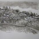 Pen and Ink-The Bridge-Llandeilo-01 by Pat - Pat Bullen-Whatling Gallery