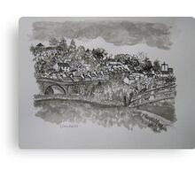 Pen and Ink-The Bridge-Llandeilo-01 Canvas Print