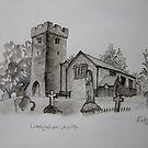 Pen and Ink-Llangathen Church-01 by Pat - Pat Bullen-Whatling Gallery